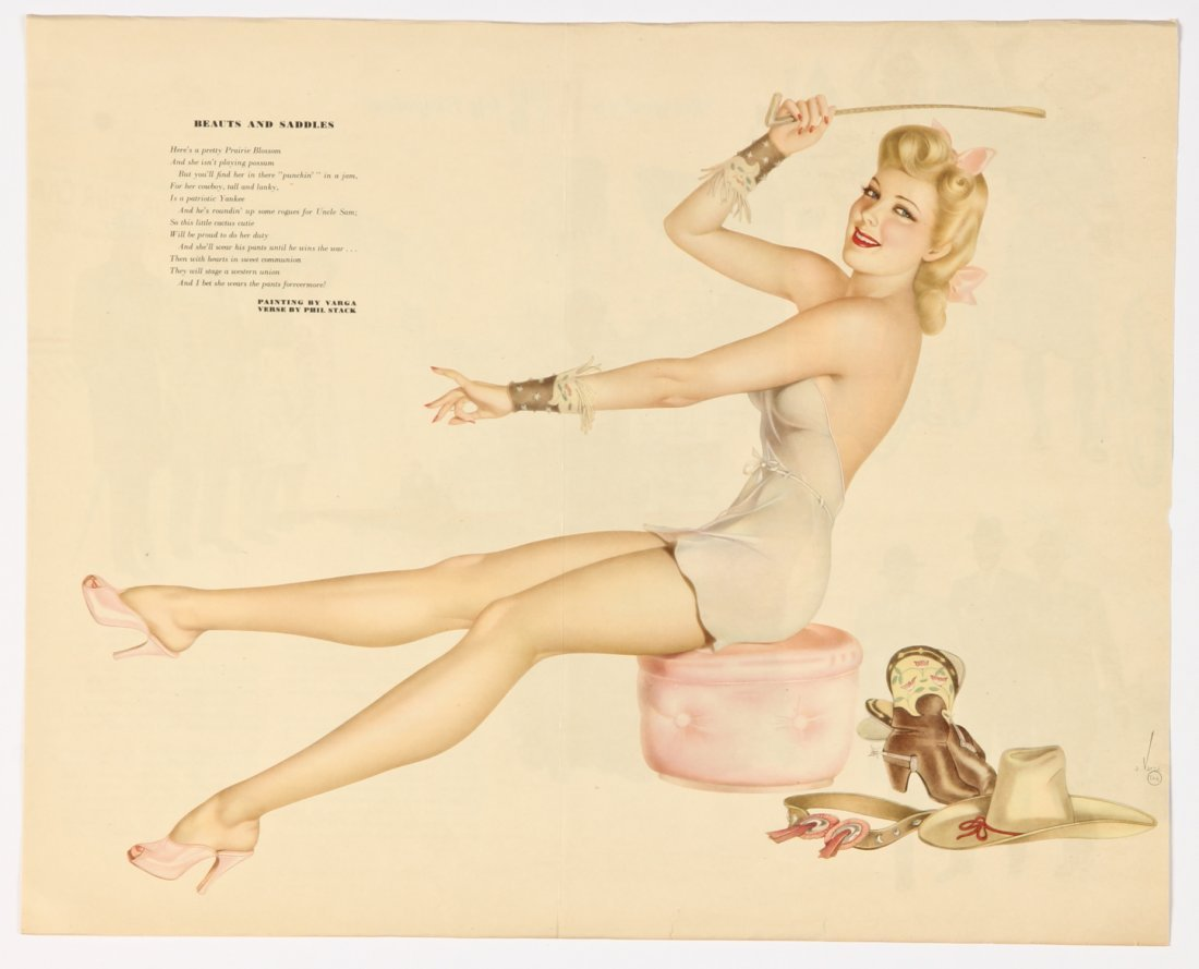 Group of 5 1940's Alberto Vargas Pinup Girl Centerfolds - 2