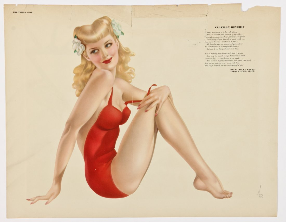 Group of 5 1940's Alberto Vargas Pinup Girl Centerfolds - 3