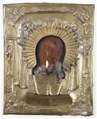 Antique Russian Icon in Metal Oklad