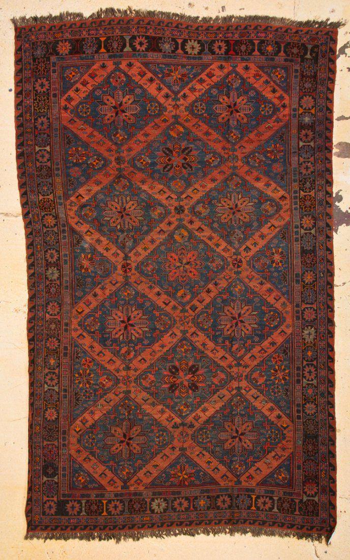 """Antique Caucasian Sumakh Rug: 6'3"""" x 10'5"""" (191 x 318"""