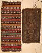 2 Antique Caucasian Rugs Shirvan Kilim and Sumakh