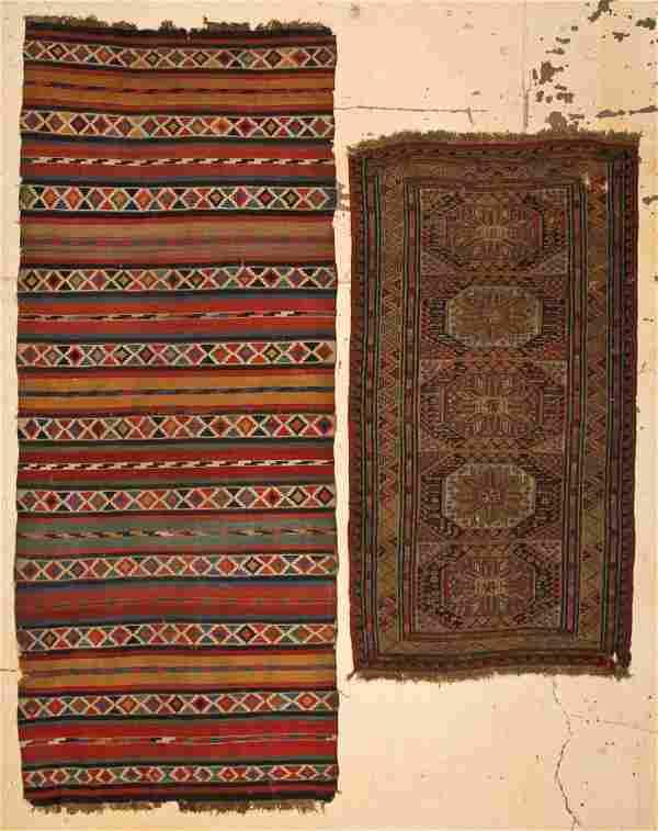 2 Antique Caucasian Rugs: Shirvan Kilim and Sumakh