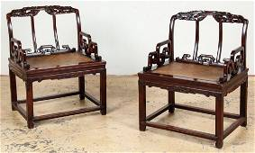 Pair of Antique Chinese Hung-Mu Summer Palace Chairs