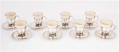 8 piece International Sterling Silver and Porcelain Dem