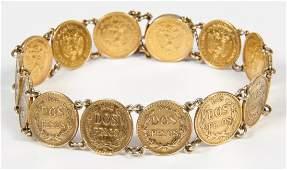 1945 Dos Pesos Mexican Gold Coin Bracelet