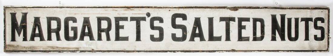 10 ft 2-Sided Sign: Margaret's Salted Nuts/Antiques