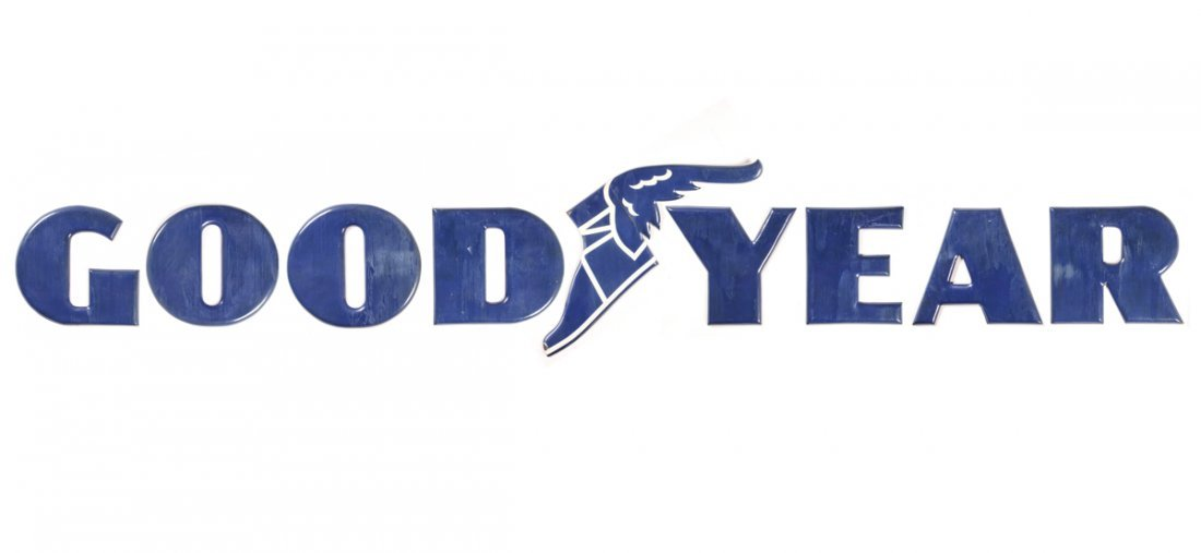 9 Pc. Goodyear Embossed Porcelain Sign