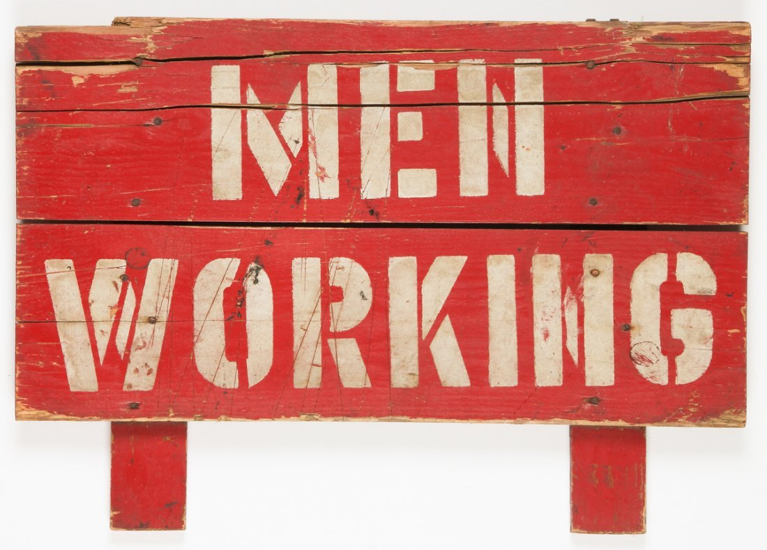 """Vintage """"Men Working"""" Hand Painted Sign"""
