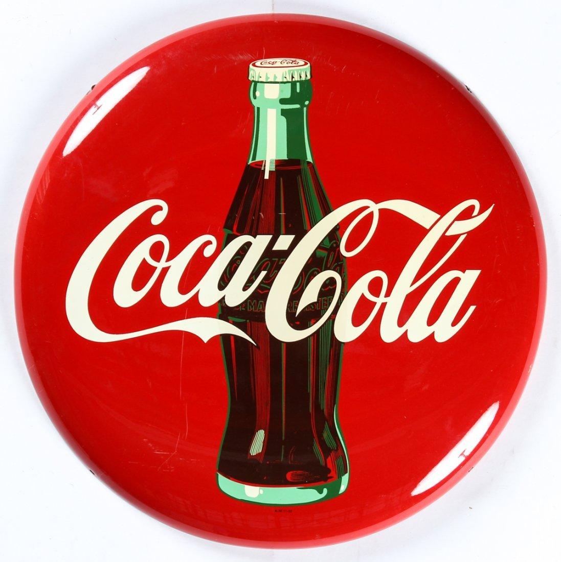 24 Inch Coca Cola Button Sign 1952