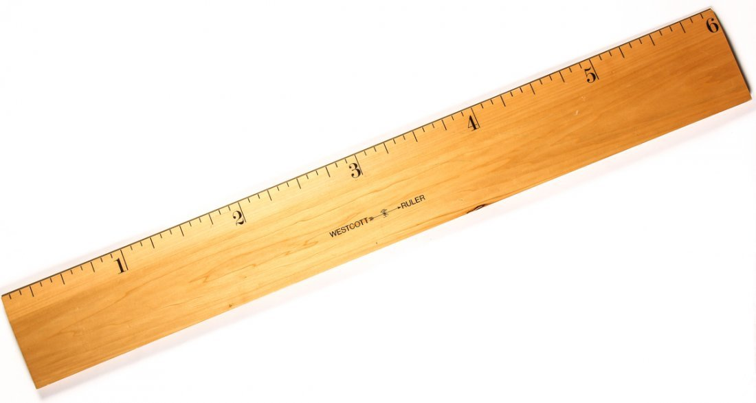 Oversized 6 Inch Wood Ruler Store Display: 6 Ft. Long