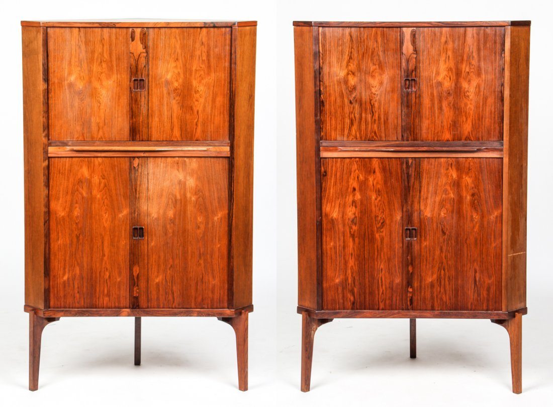 Pair Danish Modern Rosewood Veneer Corner Cabinets