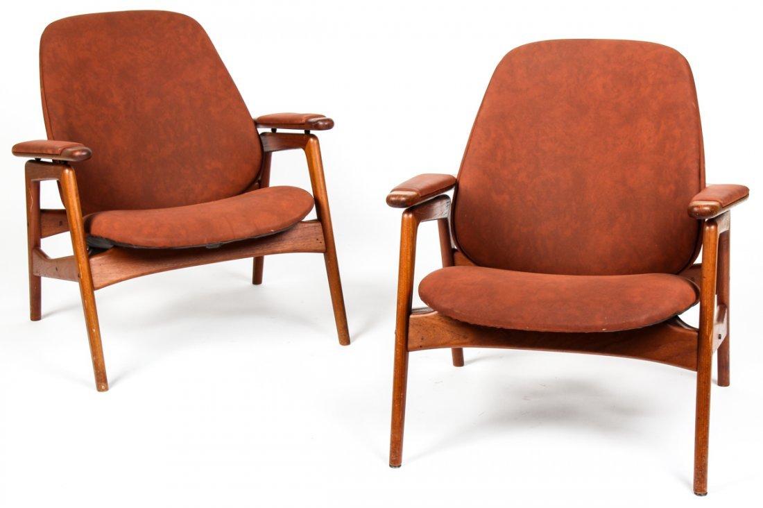 Pair Labeled Arne Hovmand-Olsen Lounge Chairs