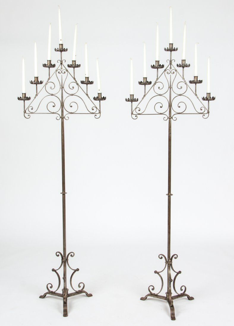 Hand-Forged Wrought Iron Torchieres