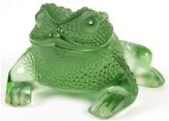 Lalique Green Art Glass Frog