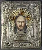 Antique Russian Icon with Silver Oklad