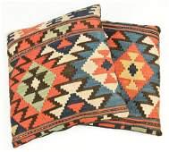 Pair of Antique Caucasian Kilim Pillows