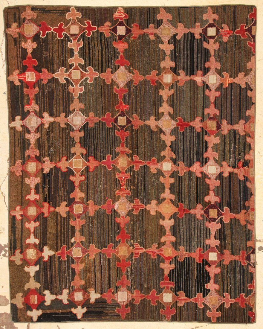 """Large Antique American Hooked Rug: 5'9"""" x 7'3"""" (175 x"""