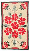 """Antique American Hooked Rug: 3'1"""" x 5'6"""" (94 x 168 cm)"""