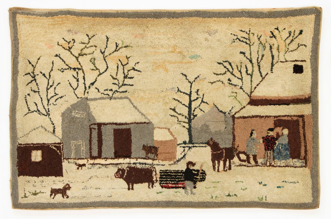 """Antique American Hooked Rug: 29.5"""" x 45.5"""", 75 x 116 cm"""
