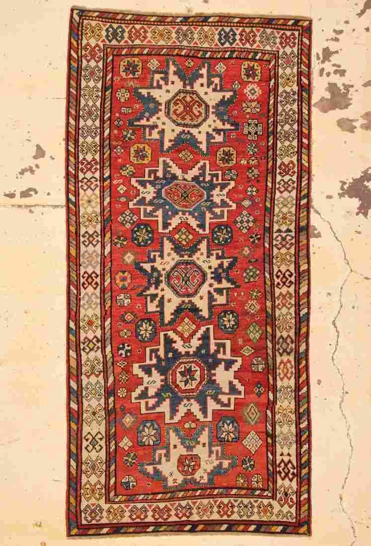 """Antique Caucasian Lesghi Rug: 4'4"""" x 9'2"""" (132 x 279"""