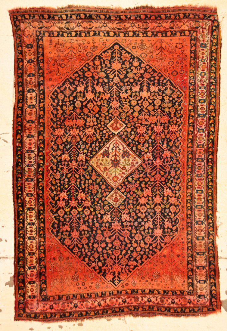 """Antique Gashgai Rug: 4'4"""" x 6'5"""" (132 x 196 cm)"""