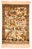 Fine 300 Line Chinese Silk Rug, 1250 Knots Per Inch: 2'