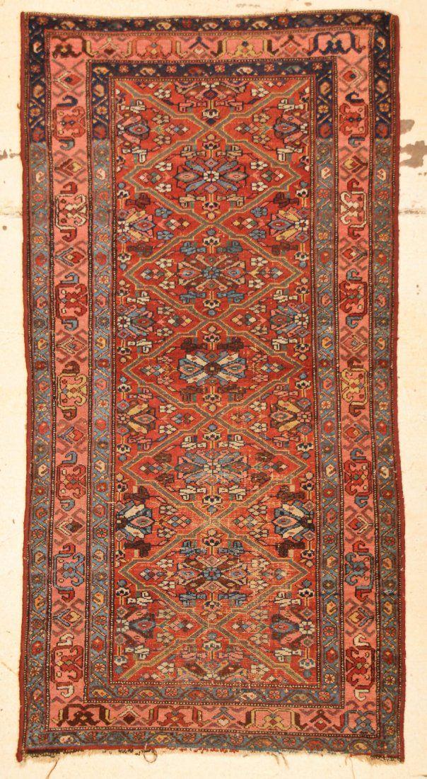 """Antique Hamadan Rug: 3'2"""" x 6'1"""" (97 x 185 cm)"""