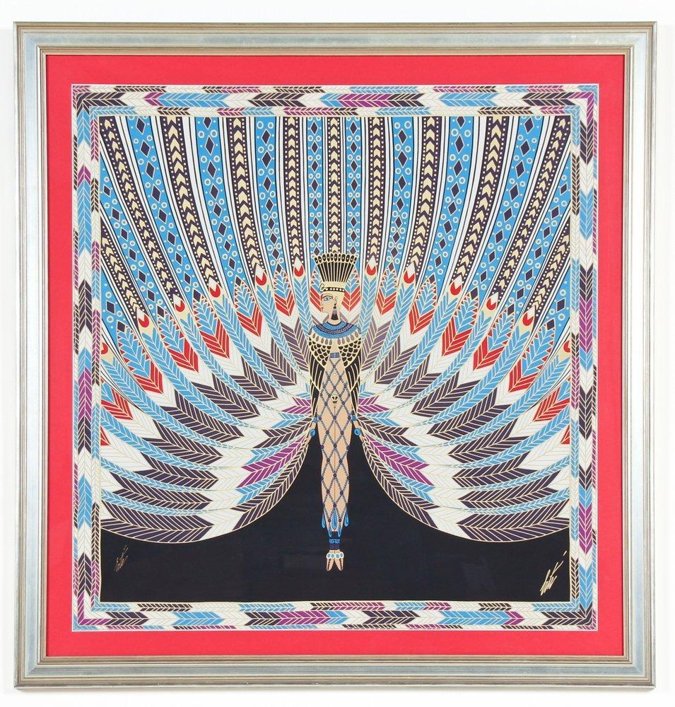 Erte ''The Nile''  Framed Silk Scarf