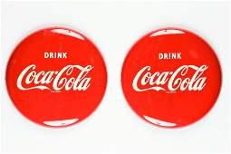 """Two Vintage 16"""" Coca-Cola Metal Button Signs"""