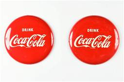 """Two 16"""" Coca-Cola Metal Button Signs"""