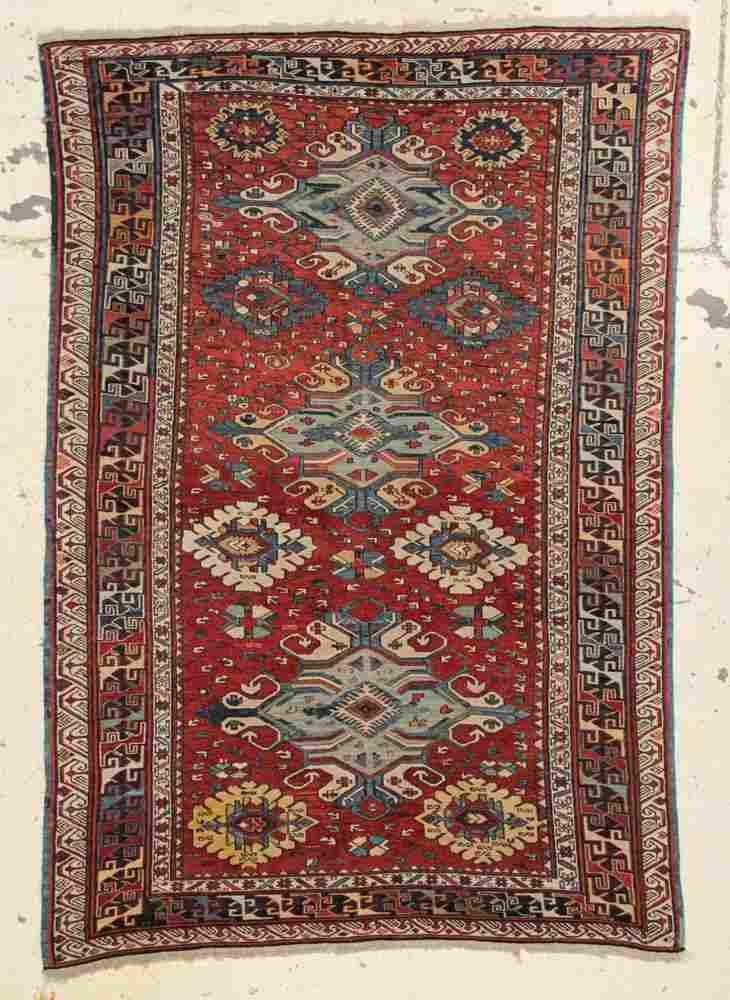 """Antique Caucasian Sumakh Rug: 4'8"""" x 6'8"""""""