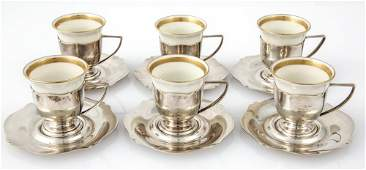 6 pc Wallace Antique Sterling Coffee Set