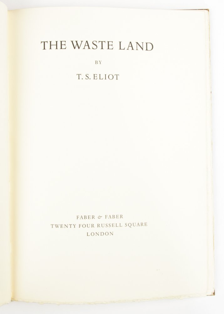TS Eliot, The Waste Land, Signed and Numbered