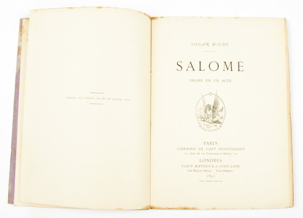 Oscar Wilde, Salome, 1893 French Edition