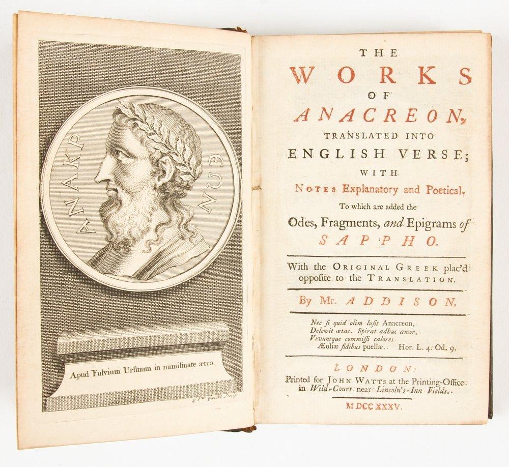 Works of Anacreon, 1735
