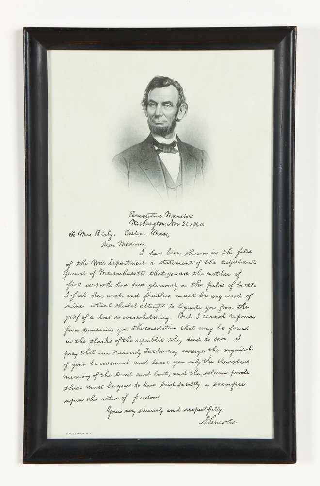 Framed Lincoln Letter to Mrs. Bixby