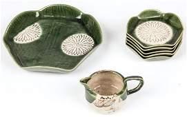 7 pc Japanese Oribe Style Glazed Ceramic