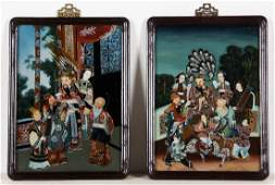 Pair of Chinese (20th c.) Reverse Painted Glass