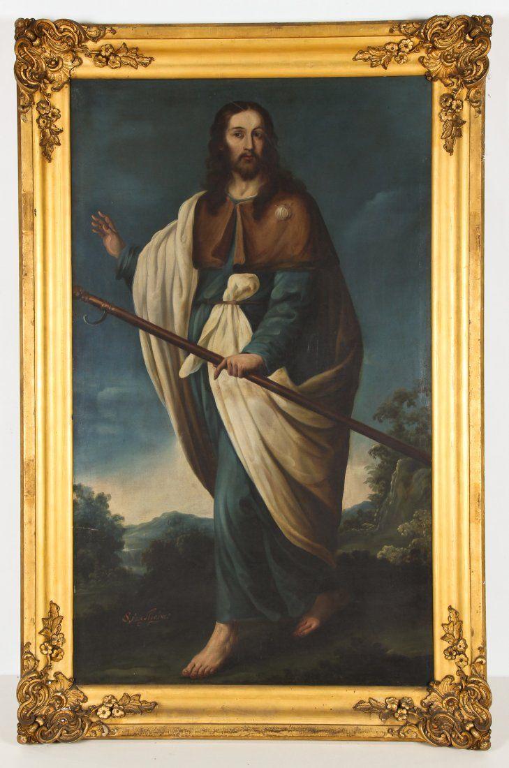 Antique Oil Painting: Saint James the Greater (Santiago