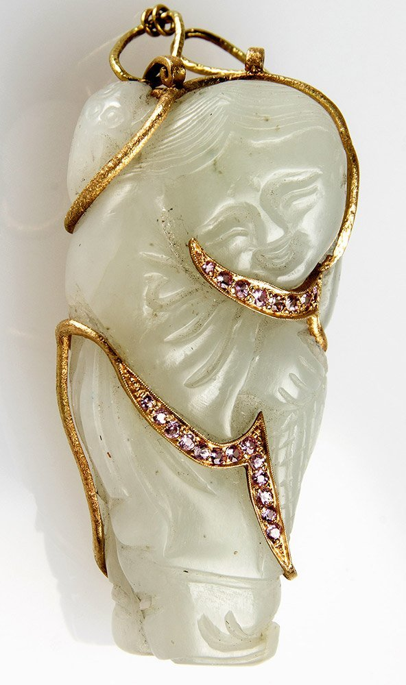 A Chinese Jade Pendant w/Gold & Pink Sapphire, Qing