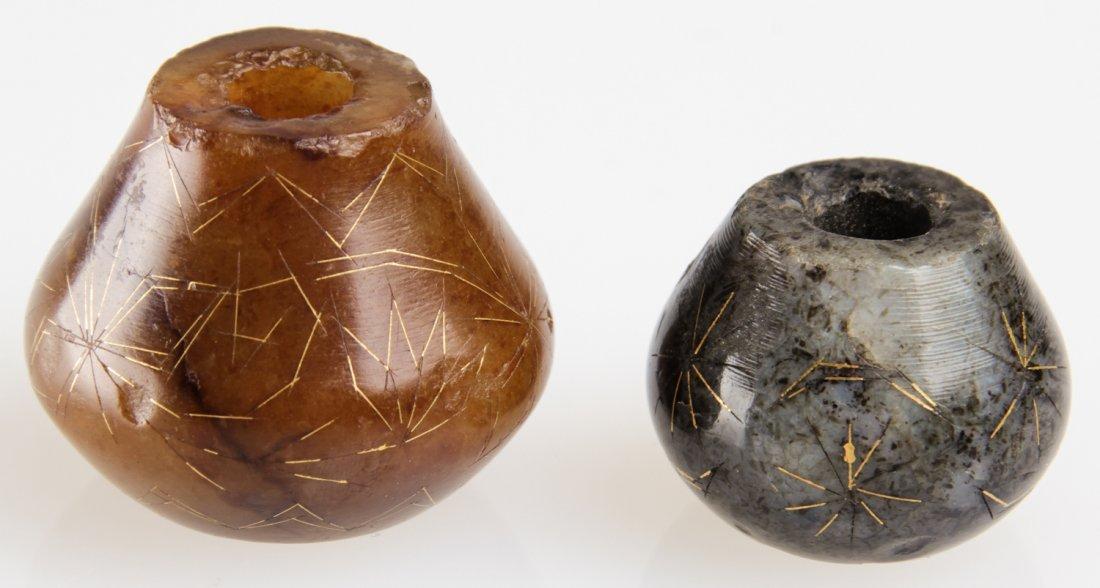 2 Antique Moghul Jade w. Gold Inlay Items