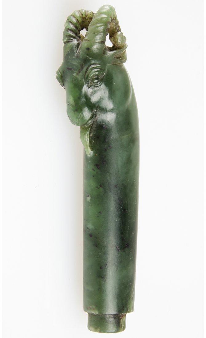 Antique Spinach Jade Ram-Form Handle, Hindustan
