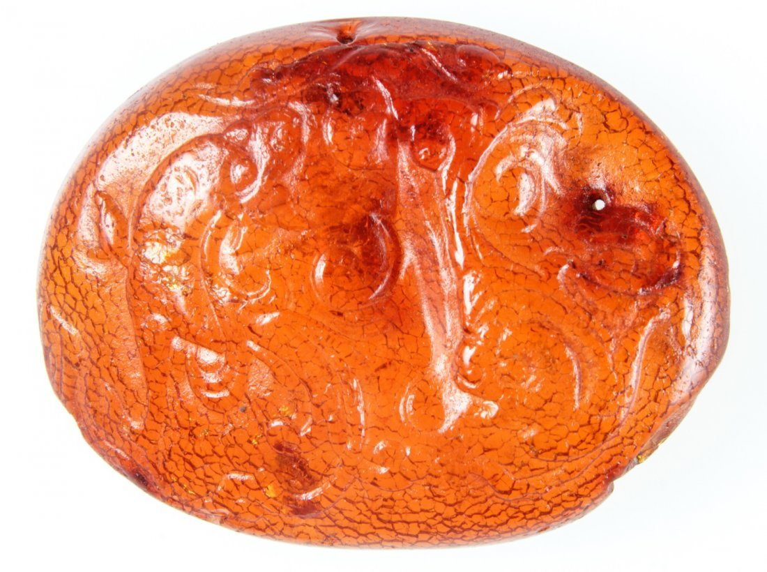 Chinese Amber Amulet, Qing Dynasty (1644-1911)