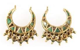 Pair of 22K Gold / Emerald /Diamonds / Enamel Indian