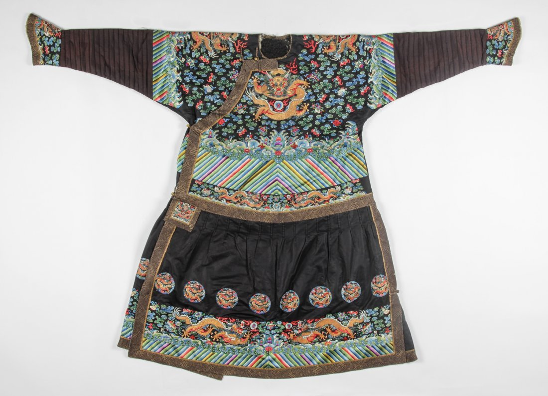 A Rare Embroidered Dragon Robe, Qing Dynasty