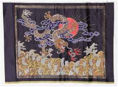 Vintage Chinese Silk Brocade of Wheat Crisis Rank