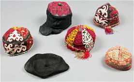 6 Antique Central Asian and Chinese Hats