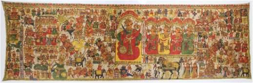 """Large Old Indian Scroll Painting (Pabuji Ki Phad) 54"""" x"""