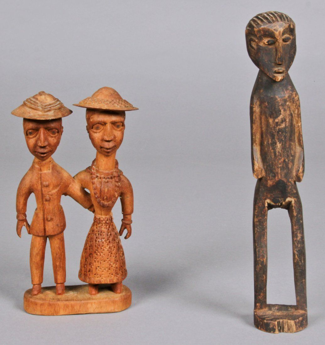 Carved Wood African Baule Colonial Couple and
