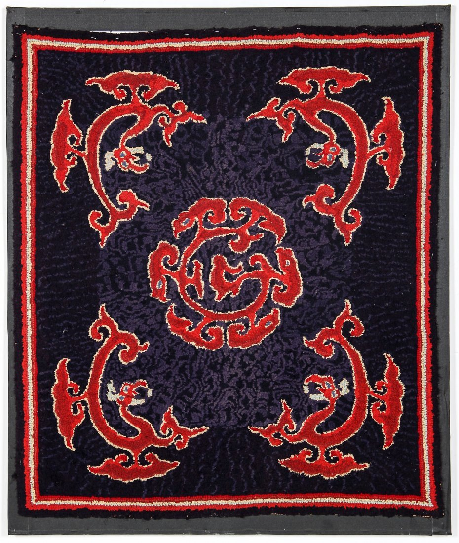 Antique American Hooked Rug in Asian Inspired Design